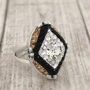 Handmade Black and Gold Crystal Ring